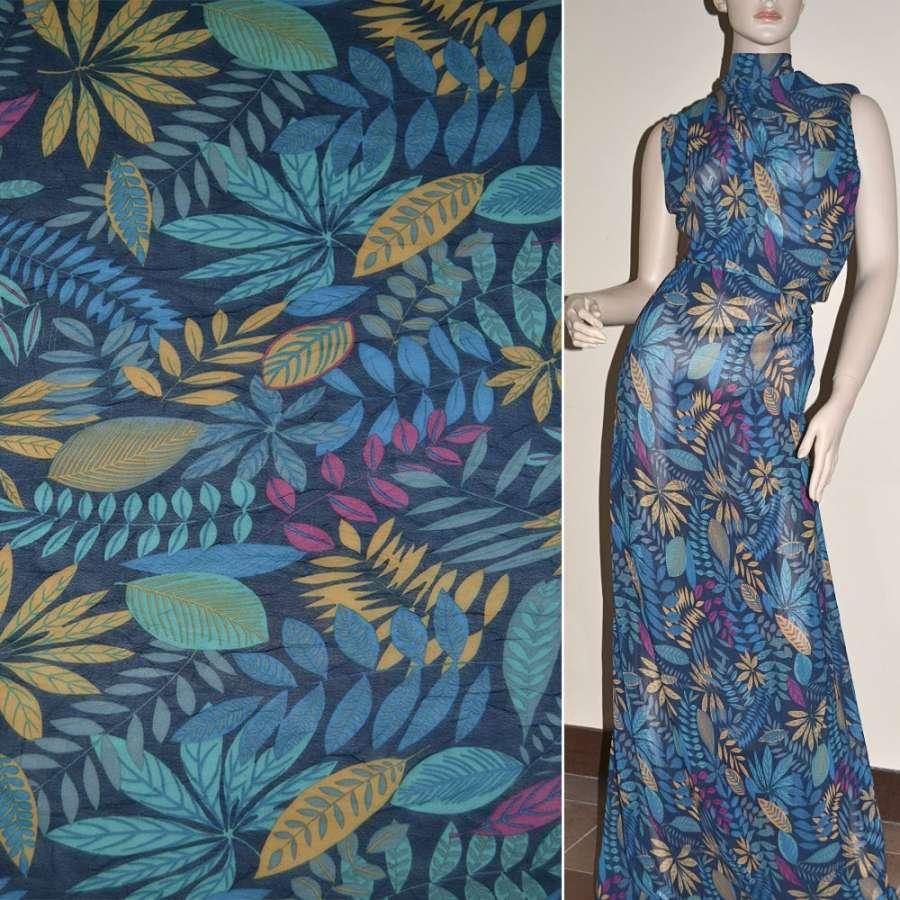Креп-шифон синій темний з бежево-блакитними листям ш.140