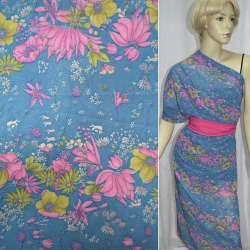 Креп-шифон голубой темный с розовыми цветами ш.140