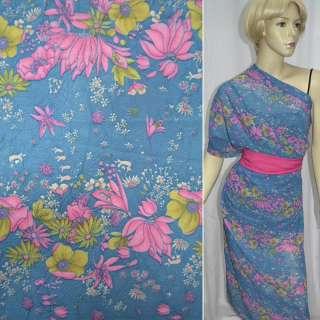Креп шифон темно голубой с розовыми цветами ш.140