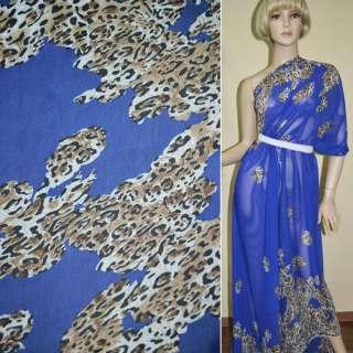Креп шифон синий (ультра) светло коричневый принт леопард,двухст.купон