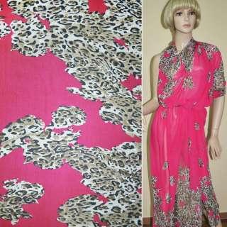 Креп шифон ярко розовый и светло коричневый принт леопард,двухст.купон