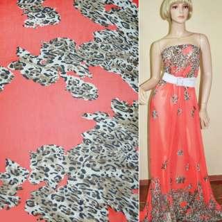 Креп шифон кораллово красный светло коричневый принт леопард,двухст.купон