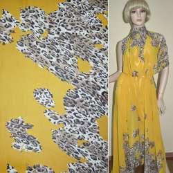 Креп-шифон желтый светло-коричневый принт леопард, 2-ст. купон ш.15