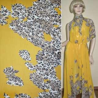 Креп шифон желтый светло коричневый принт леопард,двухсторонний купон ш.15