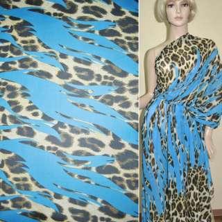 Креп шифон морской волны принт леопард,двухсторонний купон ш.150