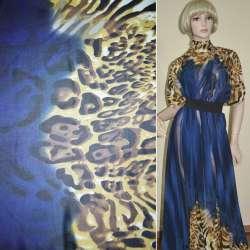 Креп-шифон синьо-чорний принт леопард, 2-ст. купон ш.148