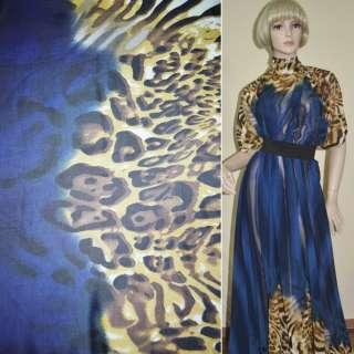 Креп-шифон сине-черный принт леопард, 2-ст. купон ш.148