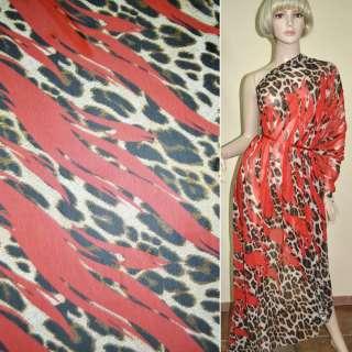 Креп-шифон красный коричневый принт леопард, 2-ст. купон ш.145