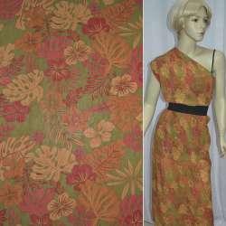 Креп-шифон зеленый с оранжево-красными листьями и цветами ш.140