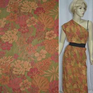 Креп шифон зеленый с оранжево красными листьями и цветами ш.140