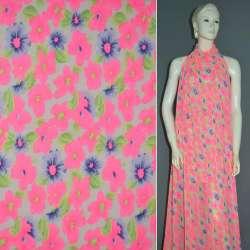 Креп-шифон персиковый светлый с ярко-розовыми цветами ш.148