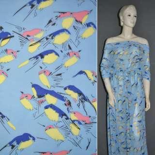 Креп шифон голубой с попугаями ш.150