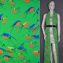 Креп-шифон зеленый с попугаями ш.151