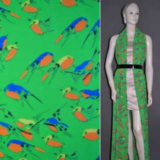 Креп шифон зеленый с попугаями ш.151