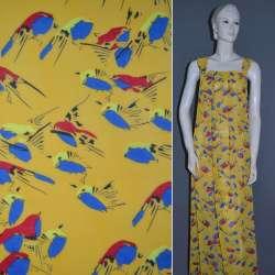 Креп-шифон желтый с попугаями ш.152