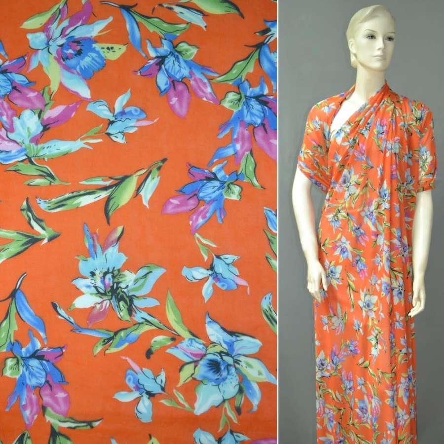 Креп-шифон оранжевый с голубыми цветами ш.148