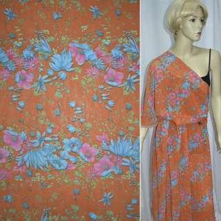 Креп шифон оранжевый с розово голубыми цветами ш.140