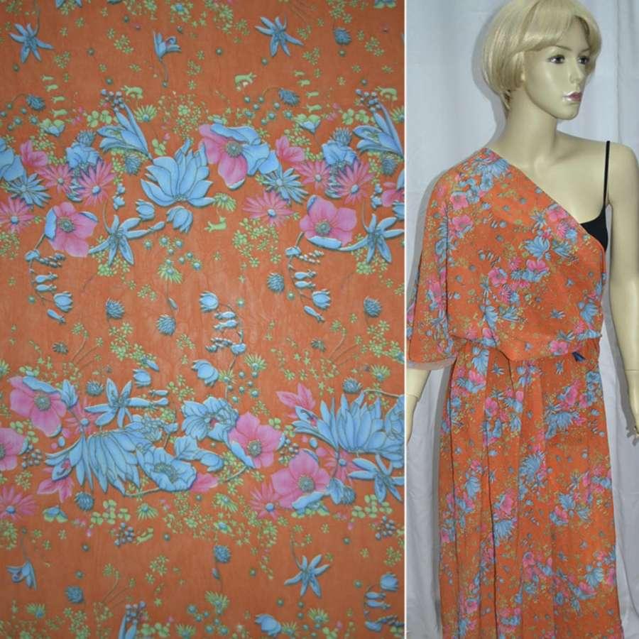 Креп-шифон оранжевый с розово-голубыми цветами ш.140