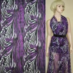 Креп-шифон фиолетово-черный с молочными разводами ш.150