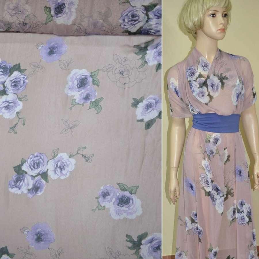 Креп-шифон розово-серый с фиолетовыми цветами ш.150