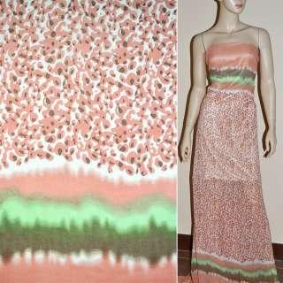 Креп-шифон рожево-білий з кораловими краплями 2-ст. купон ш.150