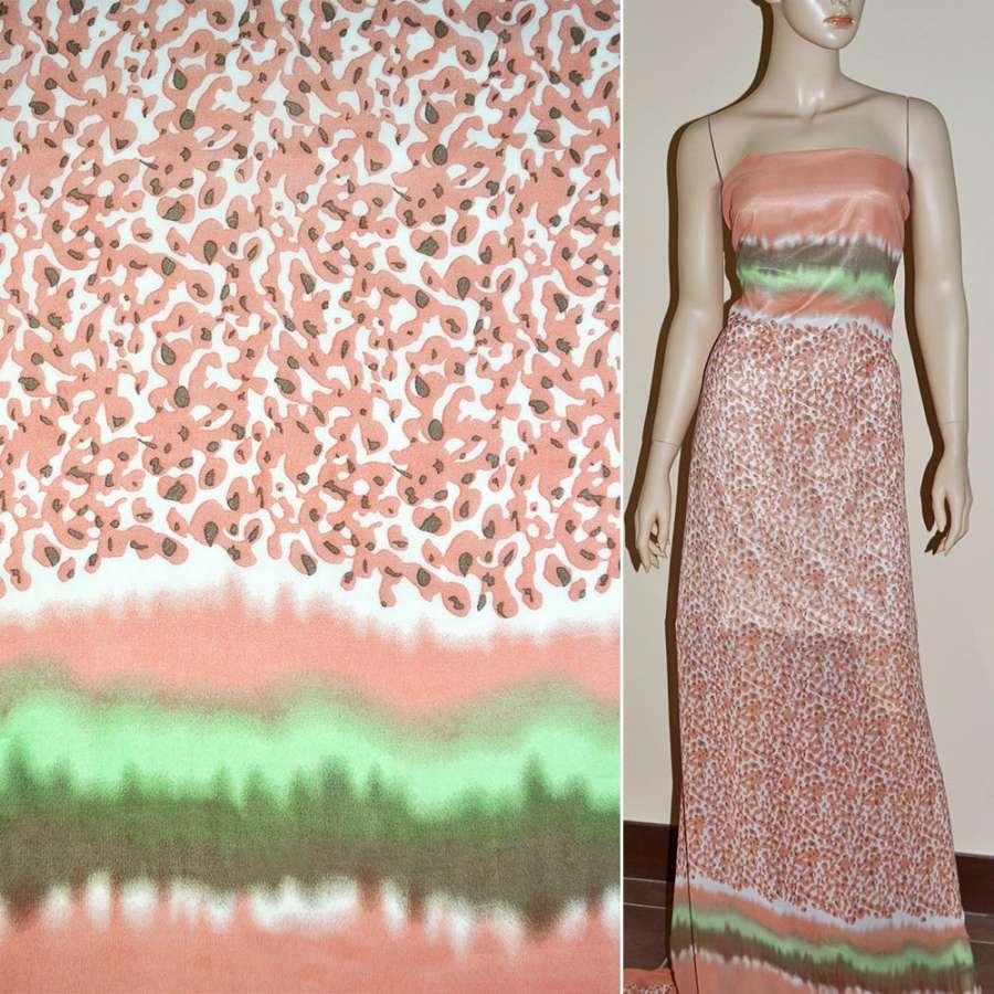 Креп-шифон розово-белый с коралловыми каплями 2-ст. купон ш.150
