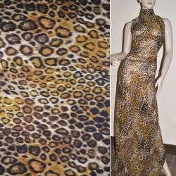 Креп-шифон молочный коричневый желтый принт леопард ш.150