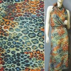 Креп-шифон кремовый оранжево-сине-черный принт леопард ш.150