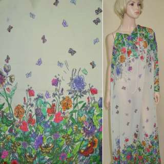 Креп-шифон кремовый, 2-ст. купон цветы и бабочки ш.140