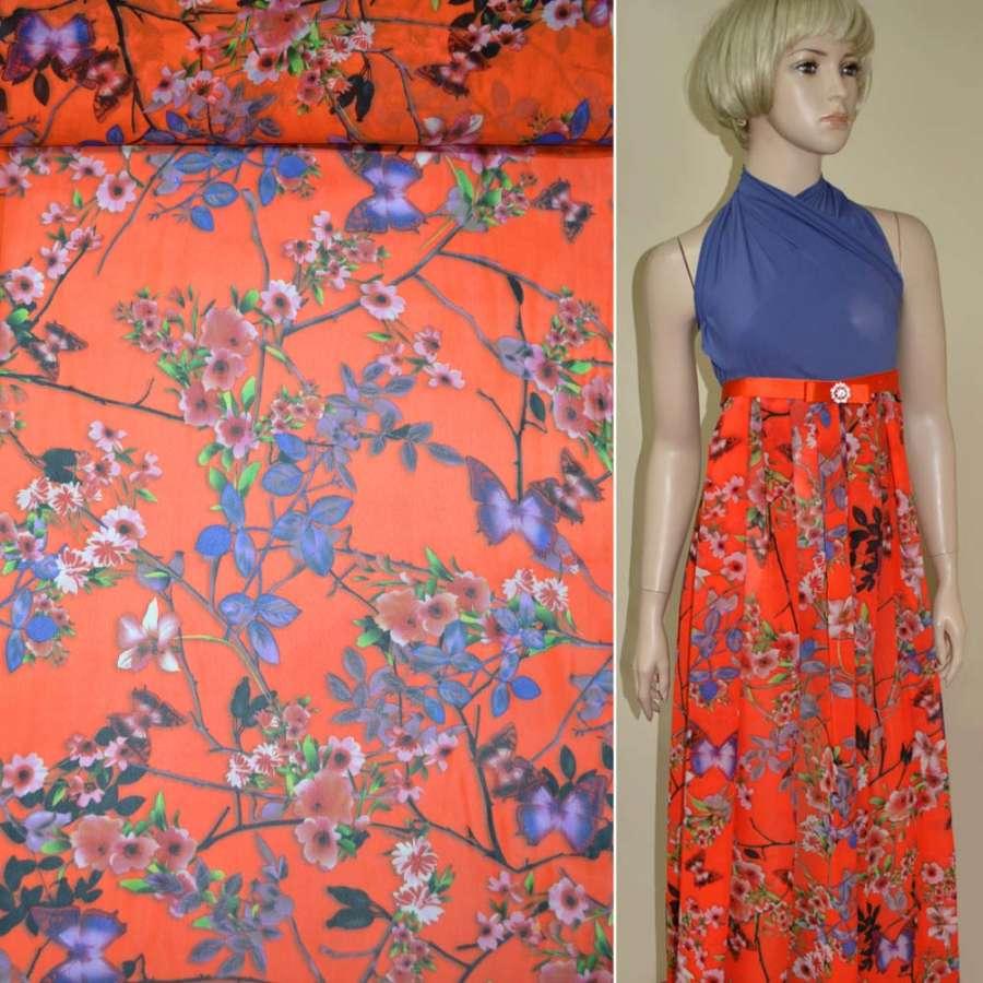 Креп-шифон оранжево-красный с цветами и бабочками ш.145