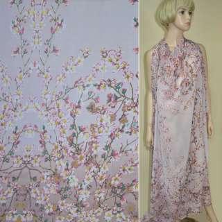 Креп-шифон розово-серый, 2-ст. купон цветущие веточки ш.150