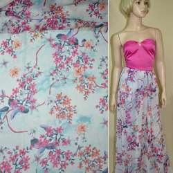 Креп-шифон бледно-голубой с терракотово-вишневыми цветами ш.145