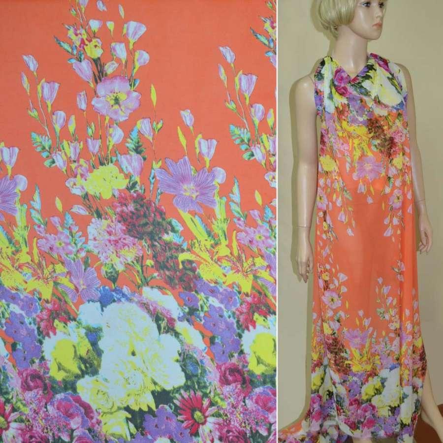 Креп-шифон оранжевый, 2-ст. купон цветы ш.145