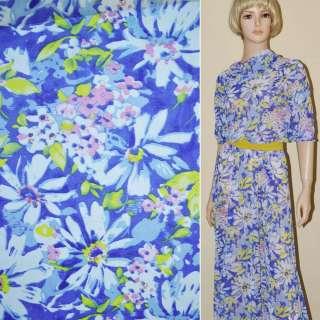 Креп-шифон синий светлый с желто-белыми цветами ш.150