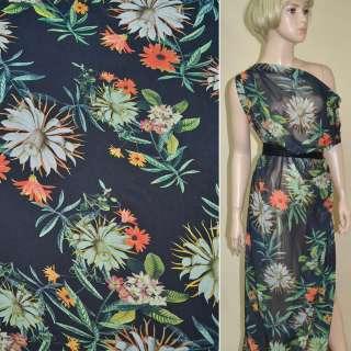 Креп-шифон черный с оливково-оранжевыми цветами ш.145