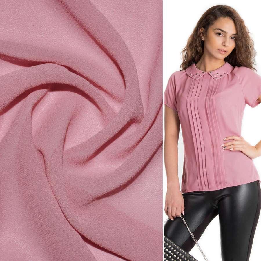Креп-шифон стрейч розово-персиковый ш.150