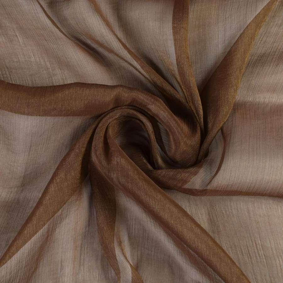 Шифон блестящий жатый коричневый ш.150
