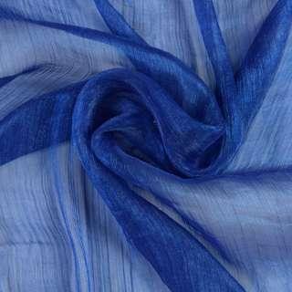 Шифон блискучий жатий синій (відтінок темніше) ш.150