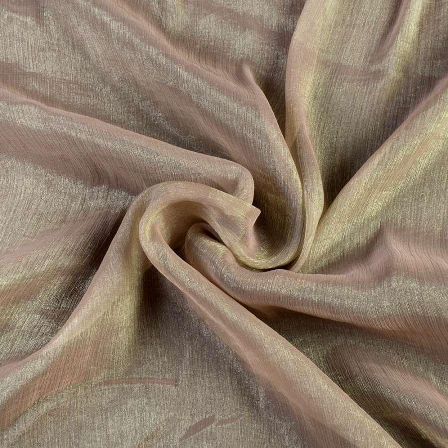 Шифон блестящий жатый бледно-коричневый ш.150
