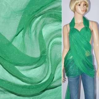 Шифон блискучий жатий бирюзово-зелений ш.150