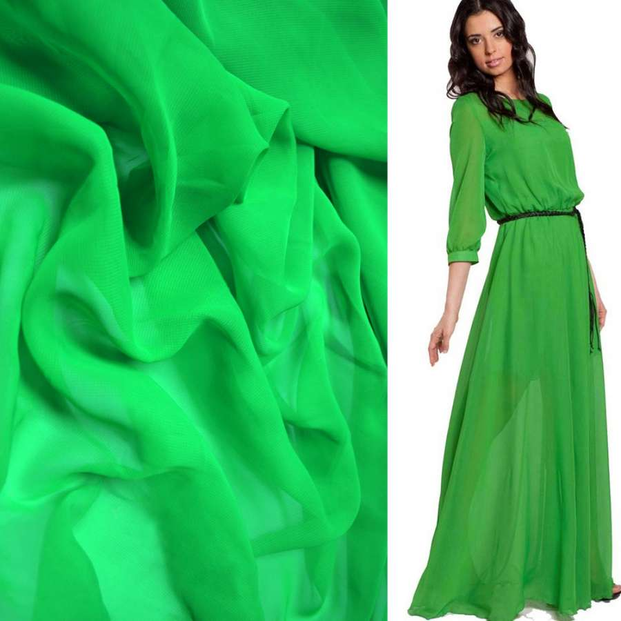 Шифон зеленый яркий ш.150