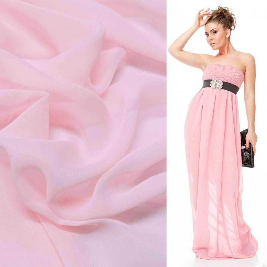 Шифон бледно-розовый ш.150
