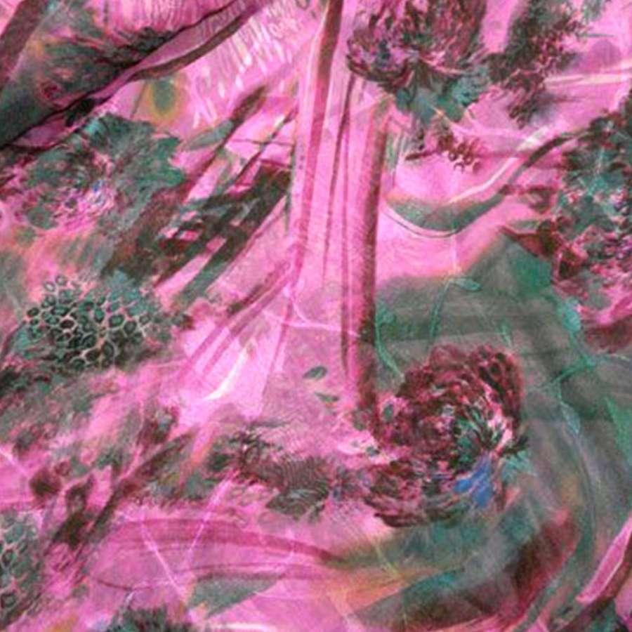 Шифон орари розовый в серые и зеленые росчерки ш.150