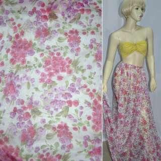 Шифон белый в розово-сиреневые цветы ш.150