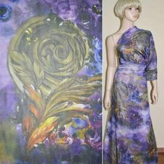 Шифон фиолетовый светлый в цветы и темно-зеленые листья ш.150