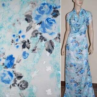 Шифон орари белый в голубые розы ш.140