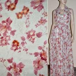 Шифон орари кремовый в бордовые цветы ш.140