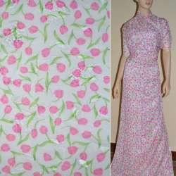 Шифон орари кремовый с розовыми тюльпанами ш.150