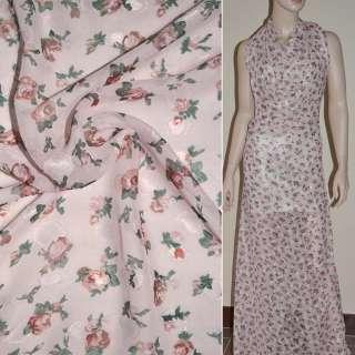Шифон орари бледно розовый с коричневыми цветами ш.150