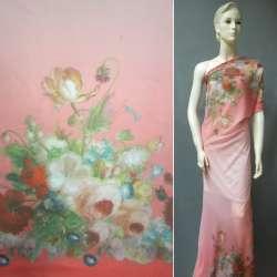 Шифон розовый, 2-ст. купон цветы ш.148